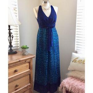 Ice Blue Cheetah Long Maxi Dress Medium Petite
